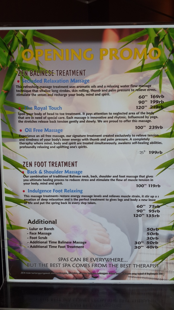 Price List treatment di ZEN Depok per November 2015