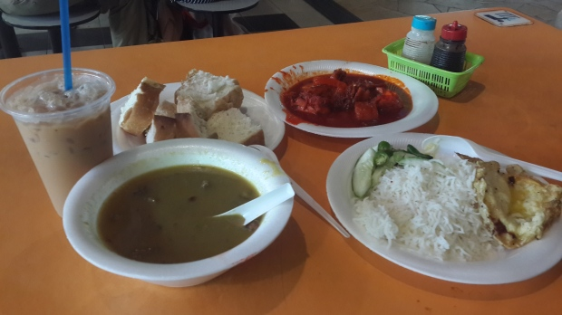 Mutton Soup, Iced Tea, Chicken Curry Rice + Omelette (Tekka Centre, Little India)