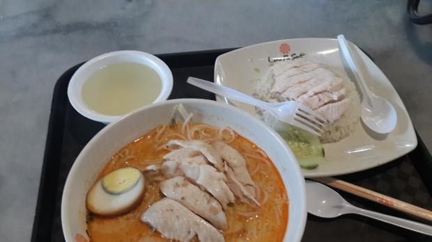 Lunch menu: Laksa dan Hainan Rice Chicken